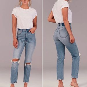 A&F Vintage Ultra High Rise Ankle Straight Jeans
